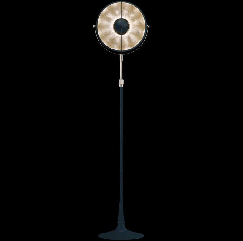 Studio 1907 Fortuny lampadaire Atelier 32 bleu pastel et feuille d'argent