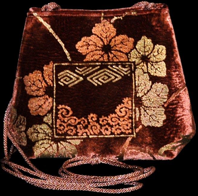 Sac Fortuny Gioia en velours couleur terre cuite