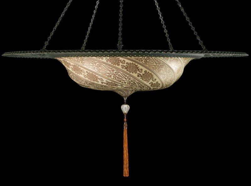 Fortuny Scudo Saraceno en verre argent avec l'anneau en métal