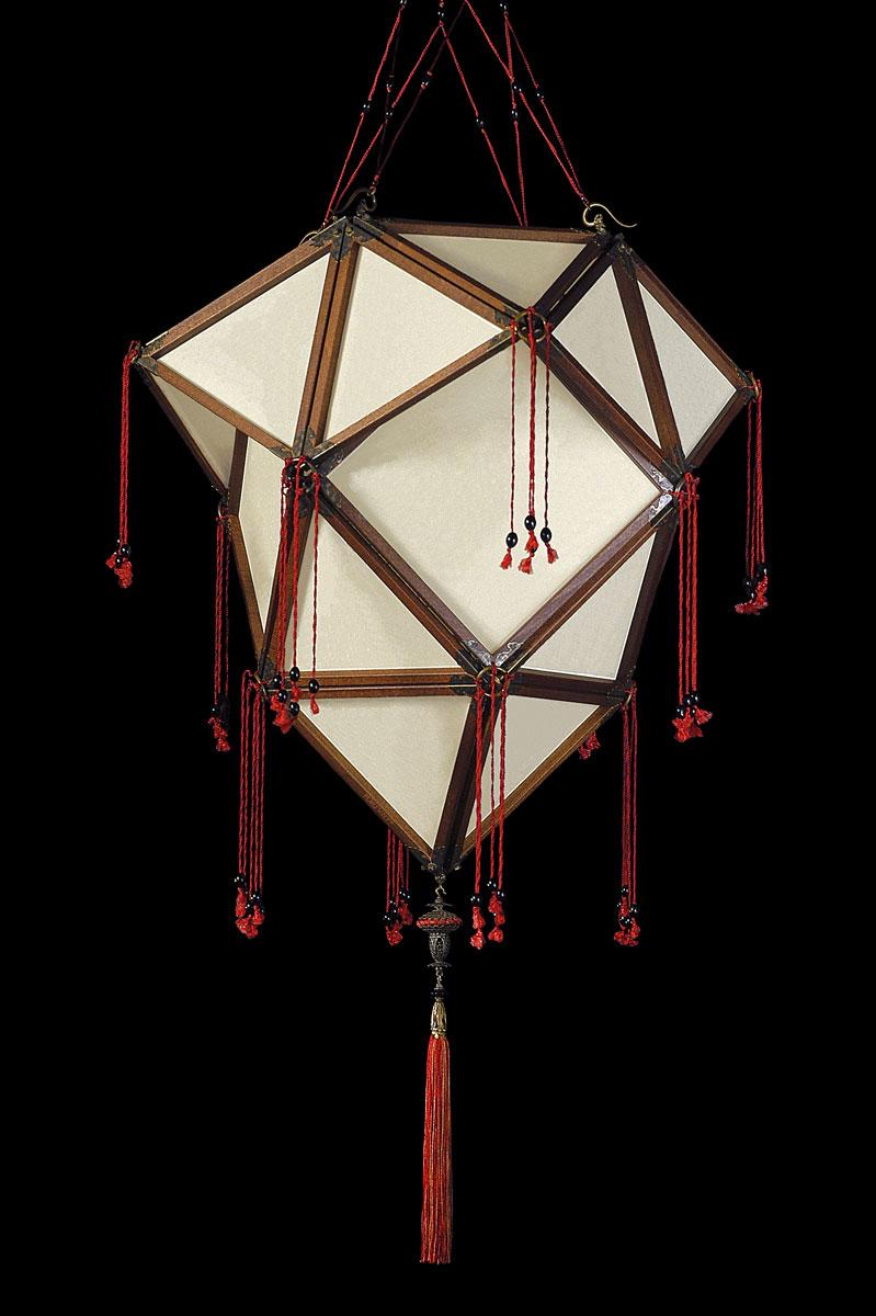 Fortuny Concubine Proibita lampe en soie unie avec structure en bois