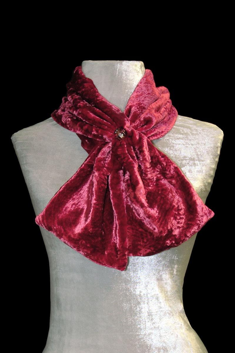 Écharpe Fortuny rouge carmin en velours froncé et perles de verre de Murano