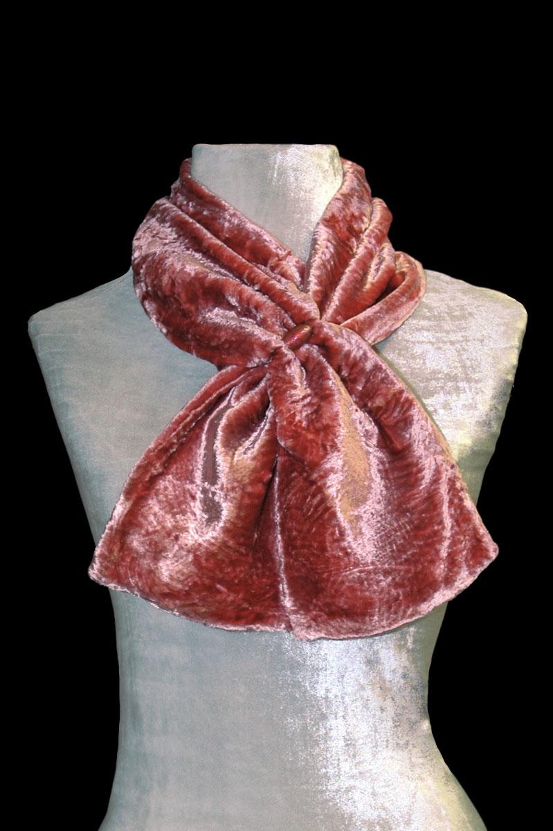 Écharpe Fortuny cannelle en velours et perles de verre de Murano