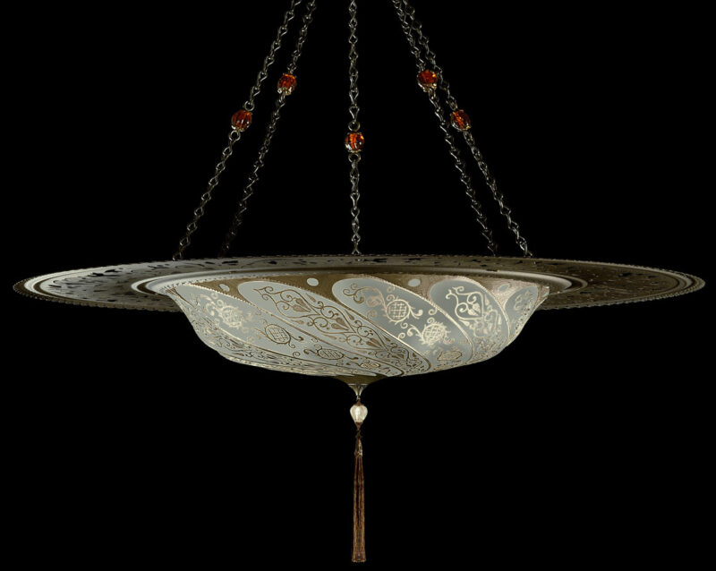 Fortuny Scudo Saraceno Classic sage grey silk lamp with metal ring