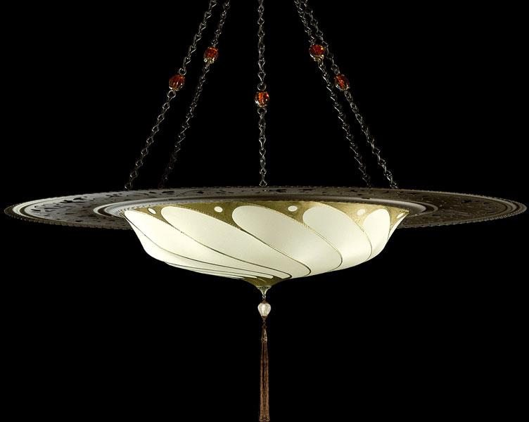 Luminaire en soie ivoire Fortuny Scudo Saraceno Serpentine avec l'anneau en métal