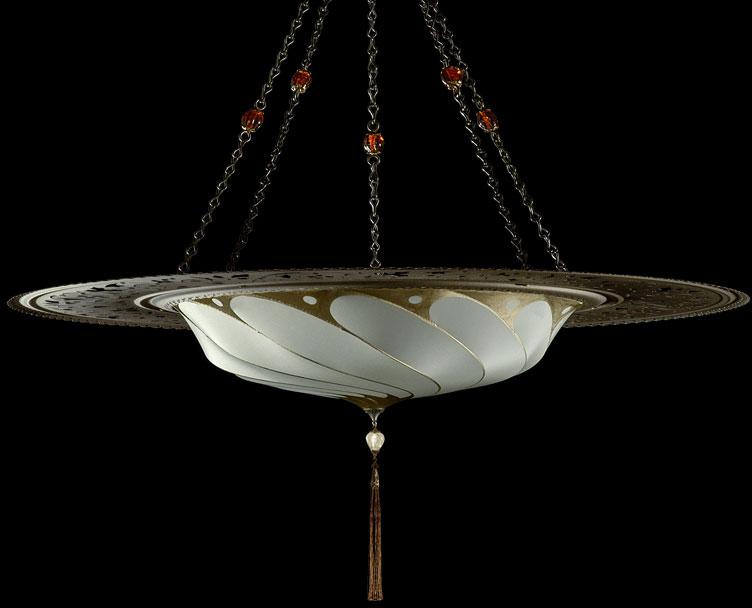 Luminaire Fortuny Scudo Saraceno Plain en soie gris sauge avec l'anneau en métal