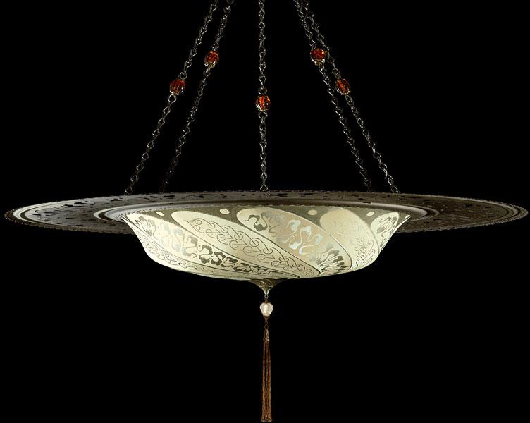 Luminaire Fortuny Scudo Saraceno Serpentine en soie ivoire avec l'anneau en métal