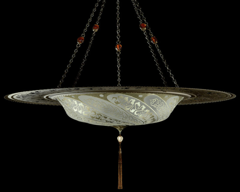 Fortuny Scudo Saraceno Serpentine sage grey silk lamp with metal ring