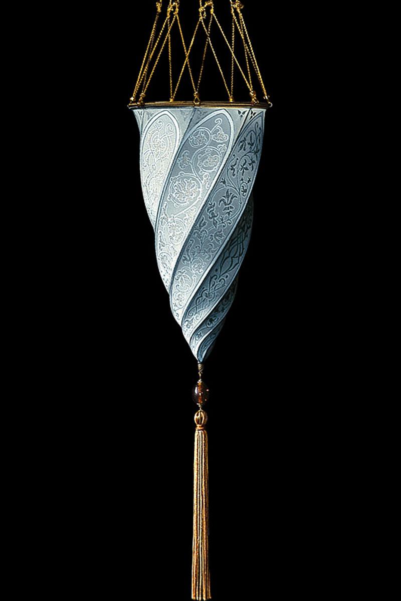Lampe Fortuny Cesendello en soie bleu clair