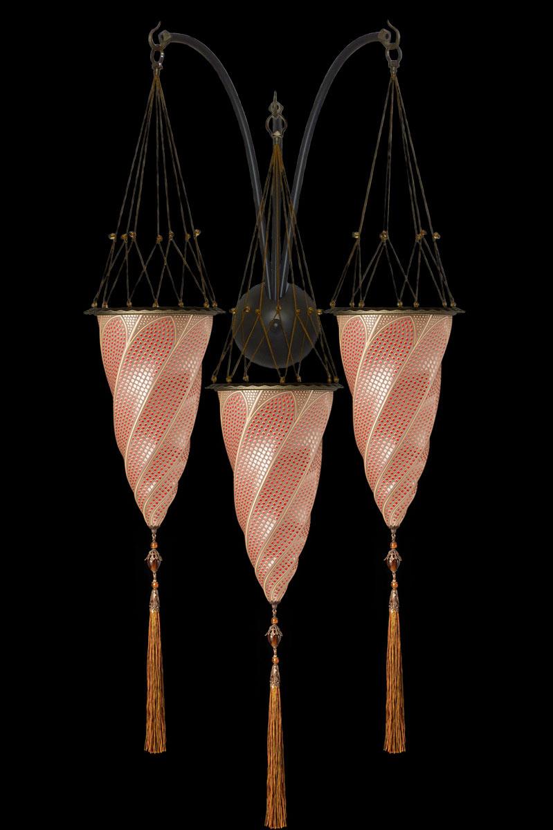 Applique Fortuny Cesendello triple arche en verre décoration mosaïque rouge