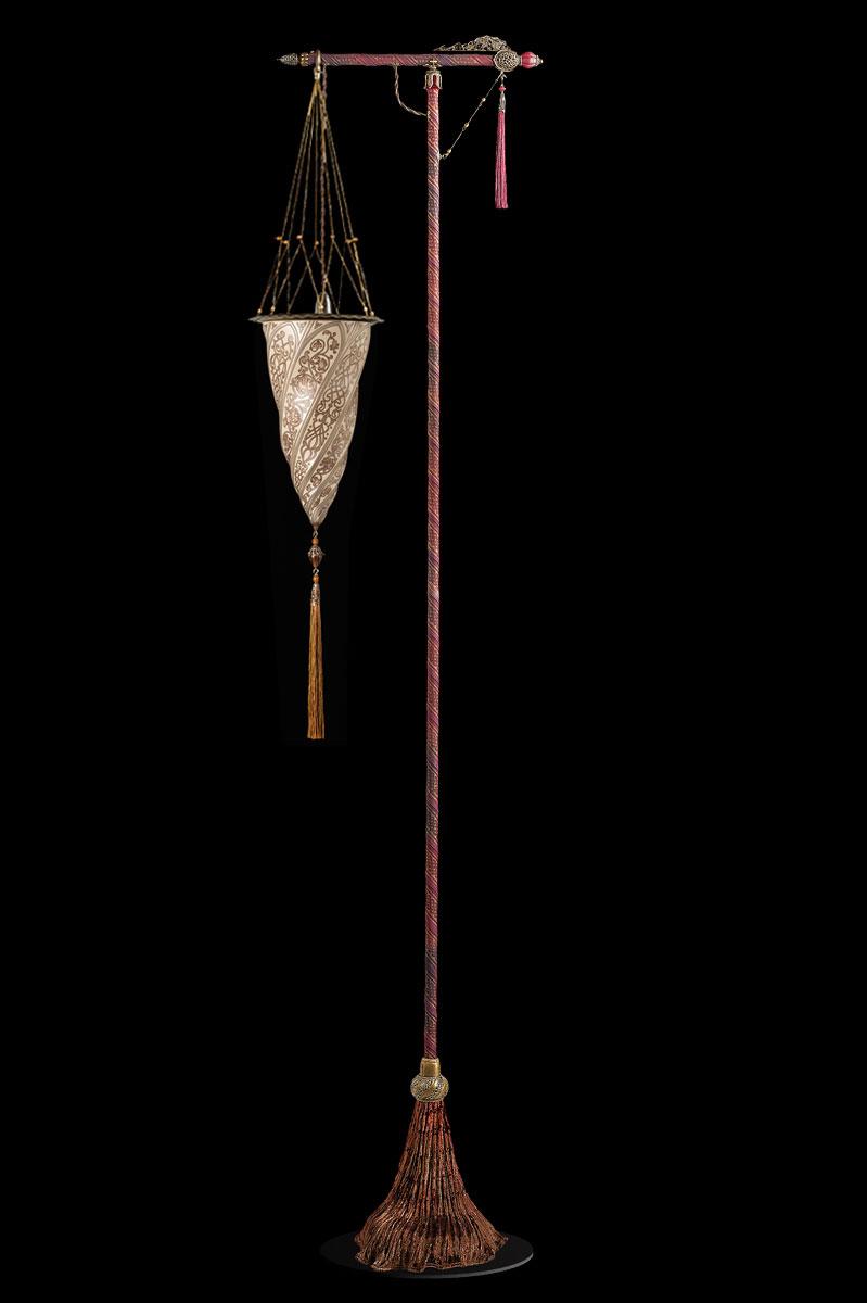 Lampadaire Fortuny Cesendello en verre argent avec support rouge