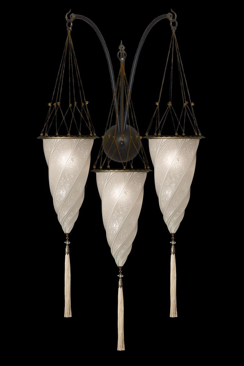 Applique Fortuny Cesendello triple arche en verre décoration blanc