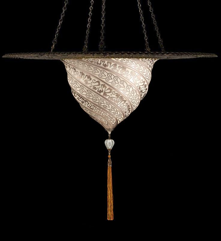 Lampe Fortuny Samarkanda en verre argent avec anneau en métal