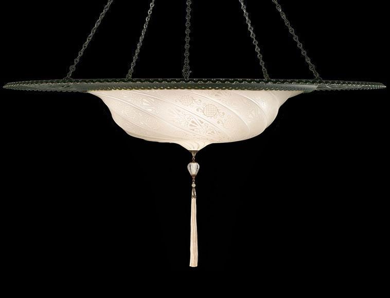 Luminaire en verre Fortuny Scudo Saraceno blanc classique avec l'anneau en métal