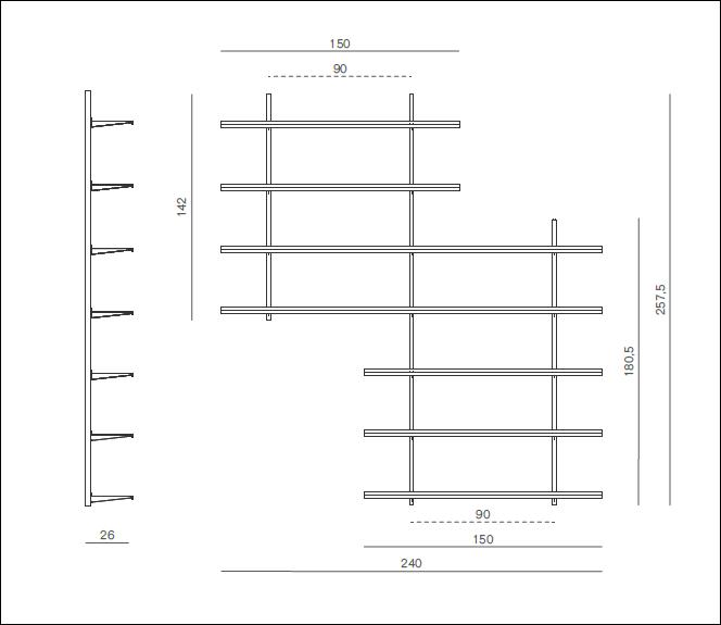 Pallucco Continua white living room modular wall bookcase squared