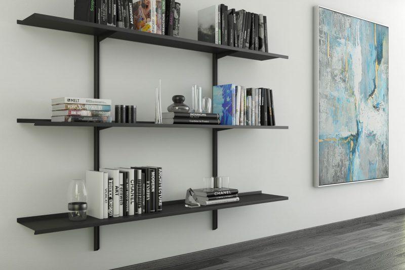 Pallucco Continua black modular wall bookcase