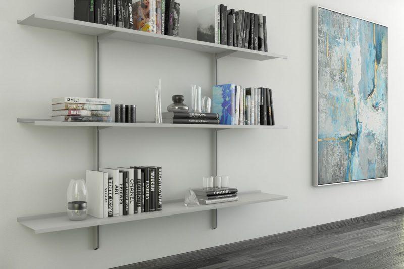 Pallucco Continua silver modular wall bookcase