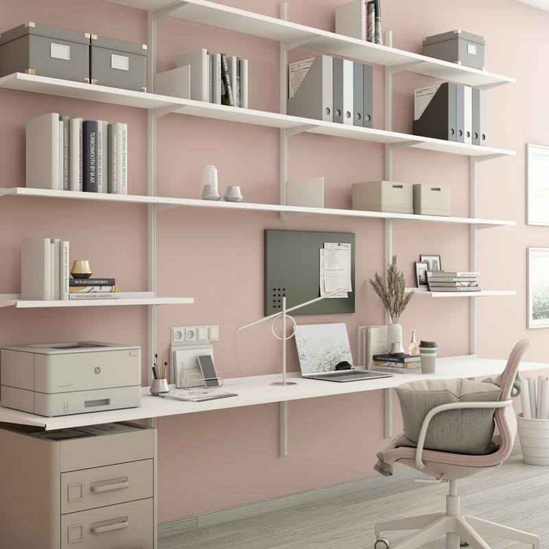 Pallucco Continua white home office modular bookcase with desk squared