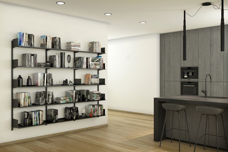 Pallucco Continua black kitchen modular wall bookcase