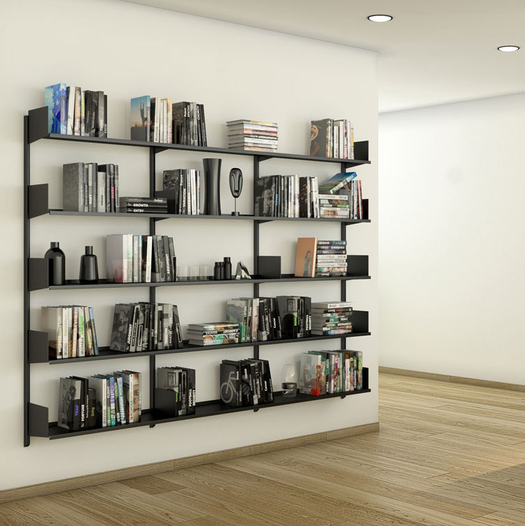 Pallucco Continua black kitchen modular wall bookcase squared