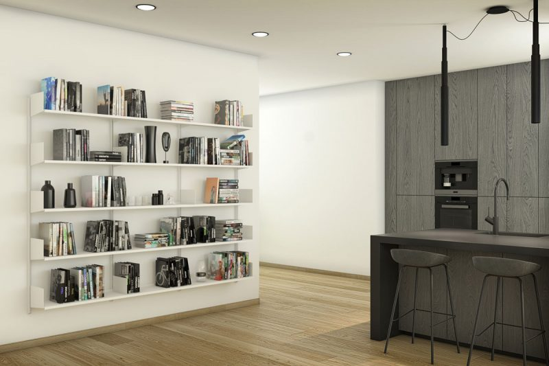 Pallucco Continua white kitchen modular wall bookcase