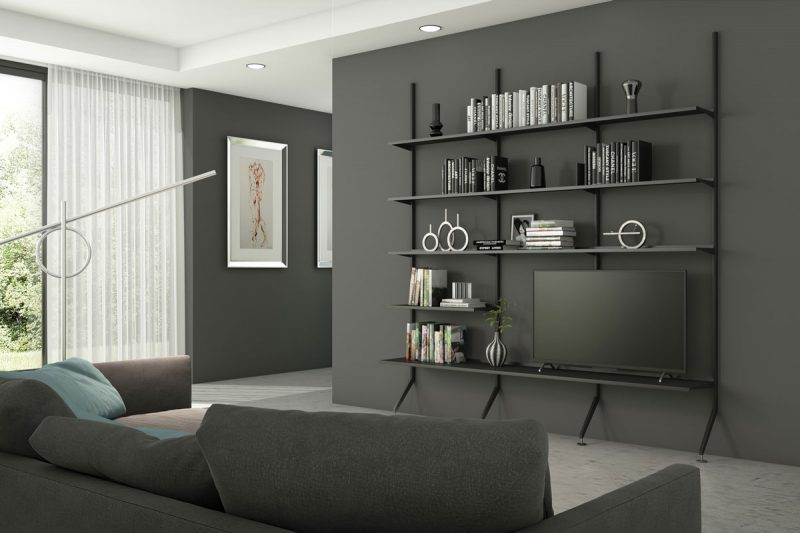 Pallucco Continua black living room modular bookcase