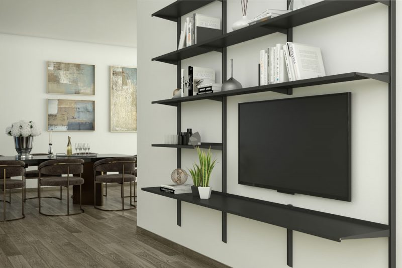 Pallucco Continua black living room modular wall bookcase