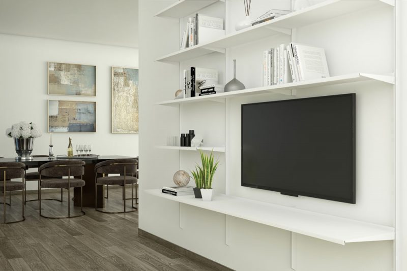 Pallucco Continua white living room modular wall bookcase