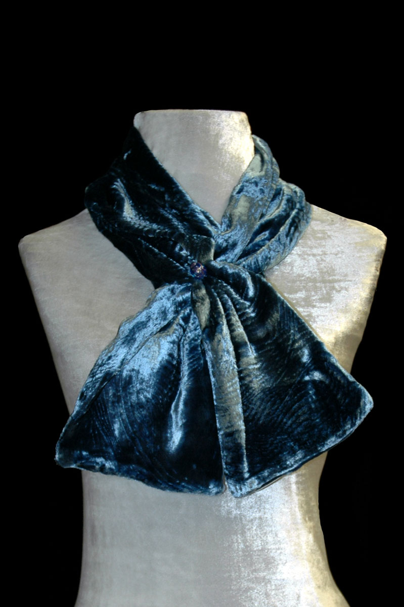 Fortuny prussian blue furrowed velvet scarf with Murano glass bead