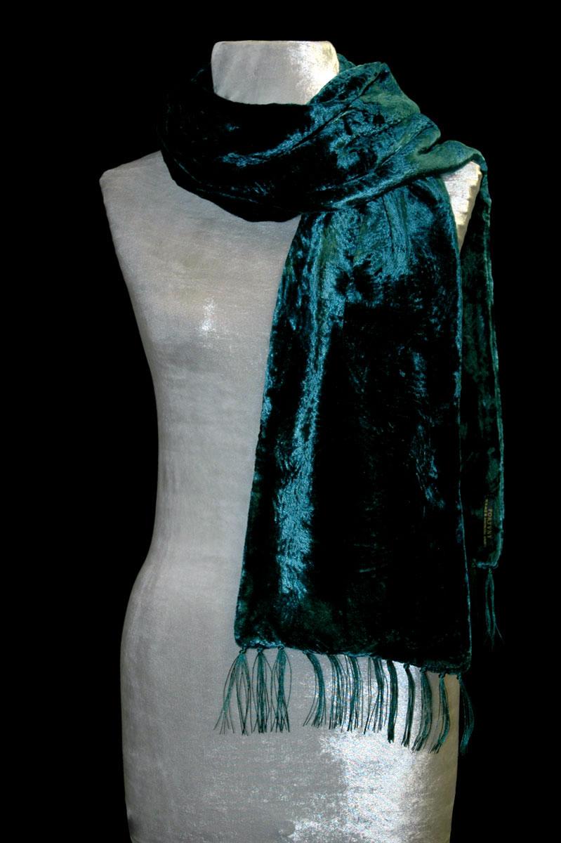 Écharpe en velours froncé à franges bleu sarcelle foncé