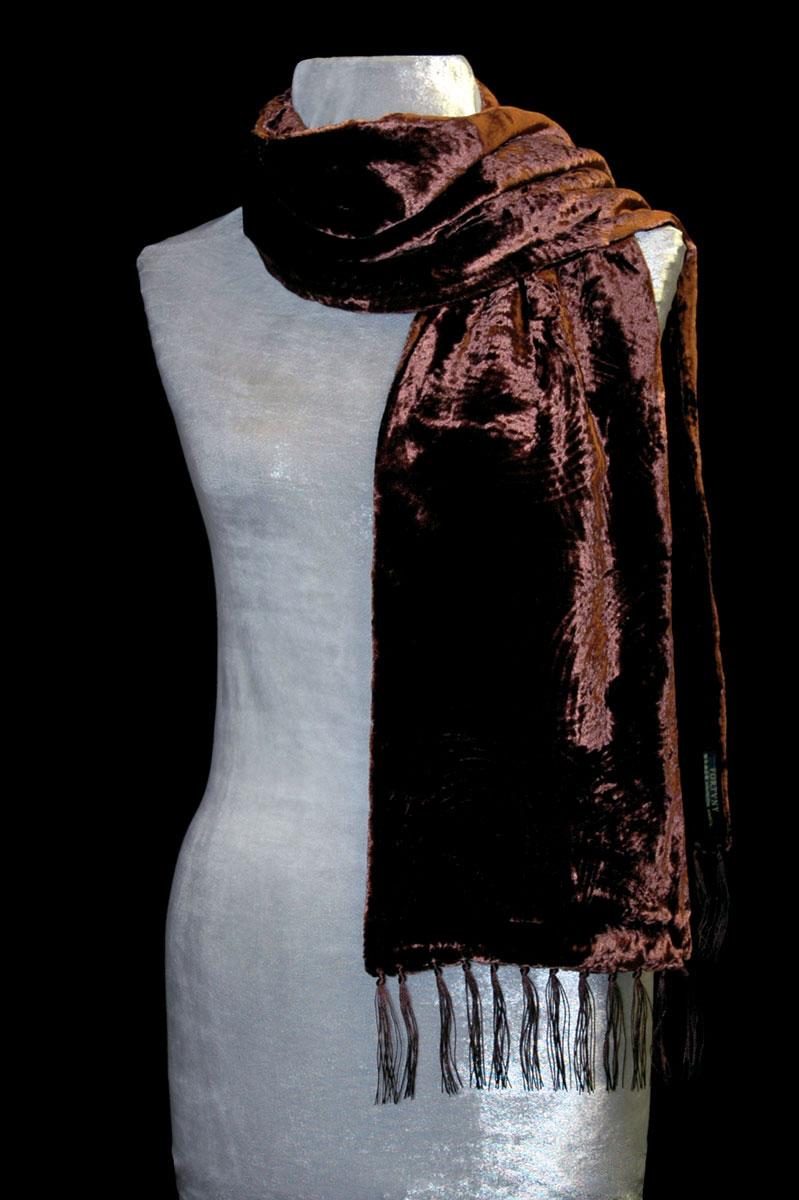 Écharpe Fortuny en velours froncé à franges couleur terre cuite