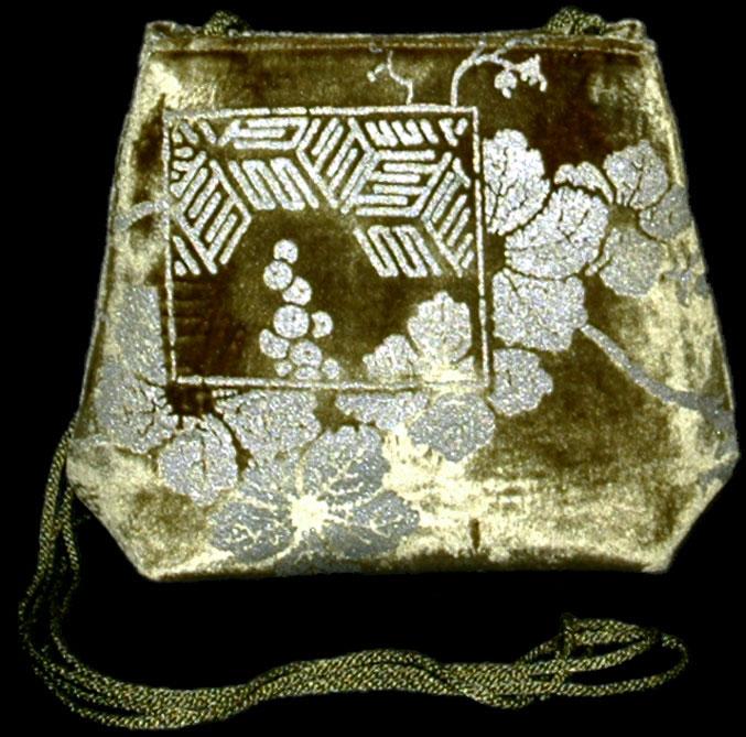 Fortuny Gioia olive green hand printed velvet bag