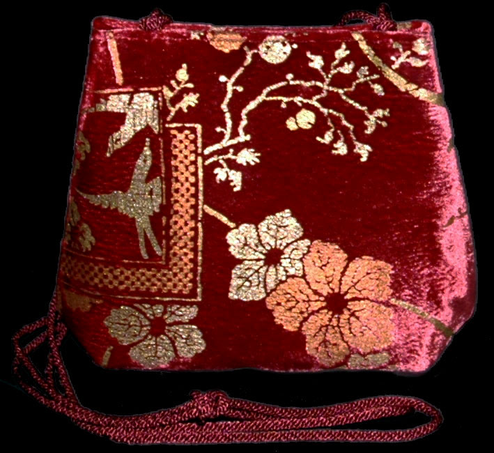 Sac Fortuny Gioia en velours rouge carmin imprimé
