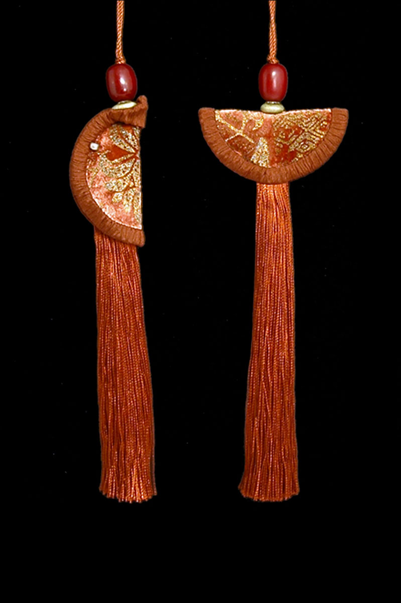 Venetia Studium couple of terracotta green Geisha & Samurai key tassels