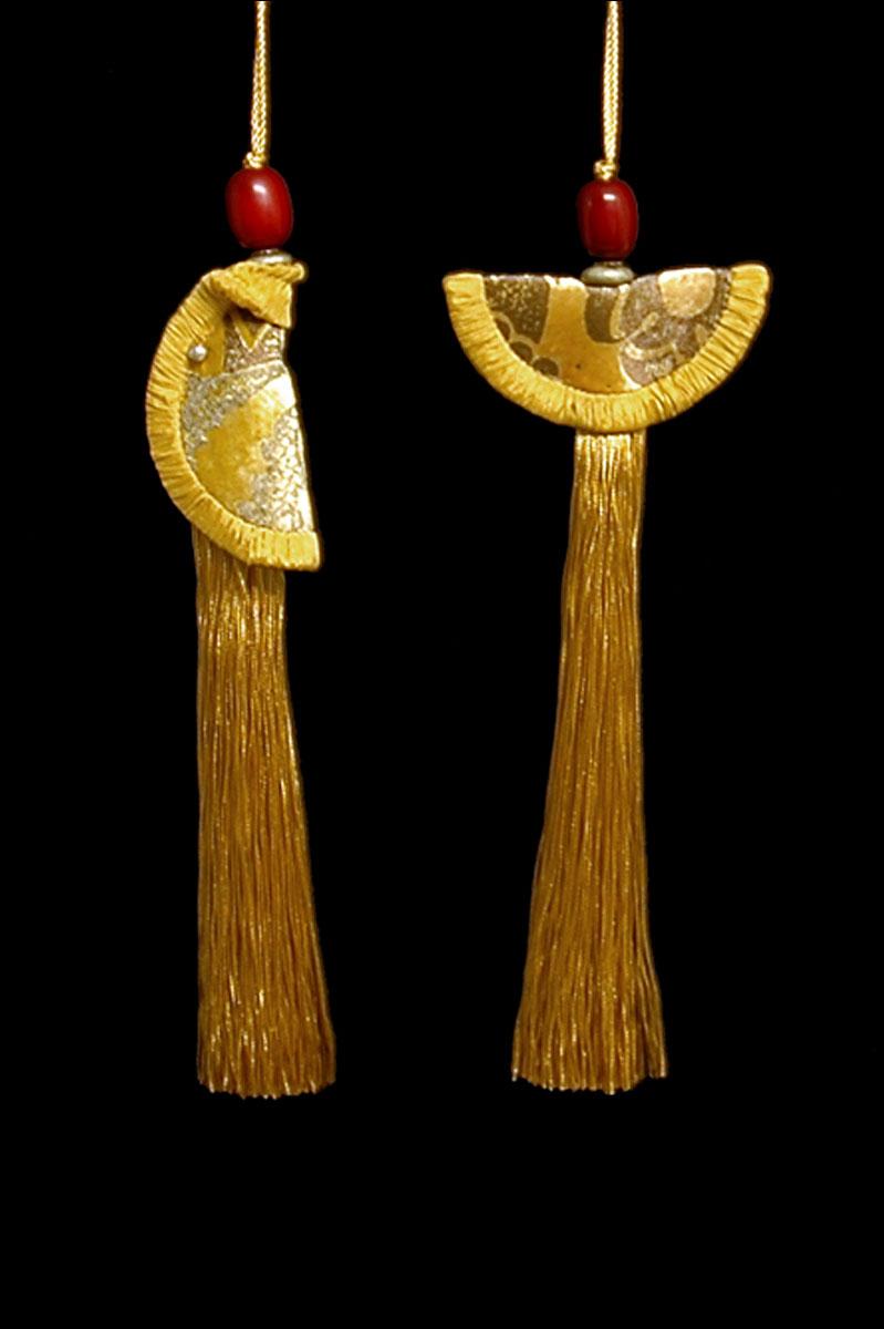 Couple de Glands de clés - pompons Geisha et Samurai de Venetia Studium en or pâle