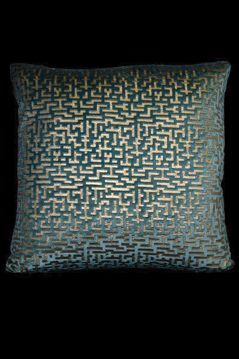 Coussin Venetia Studium carré en velours bleu sarcelle imprimé Labirinto