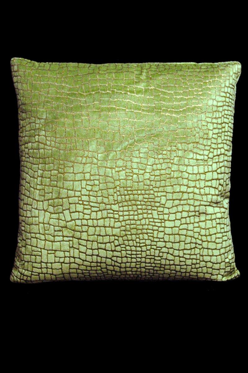 Coussin Venetia Studium carré en velours vert clair imprimé Mosaico
