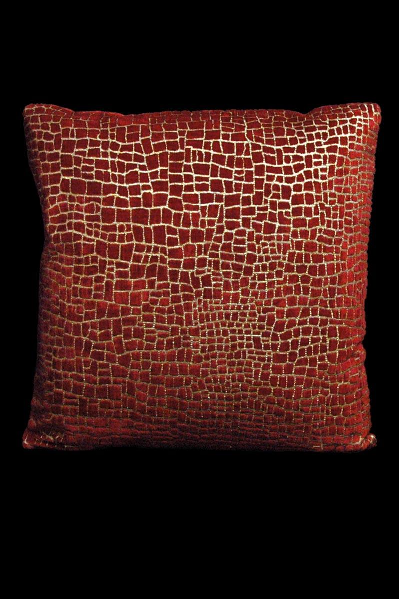 Coussin Venetia Studium carré en velours rouge imprimé Mosaico