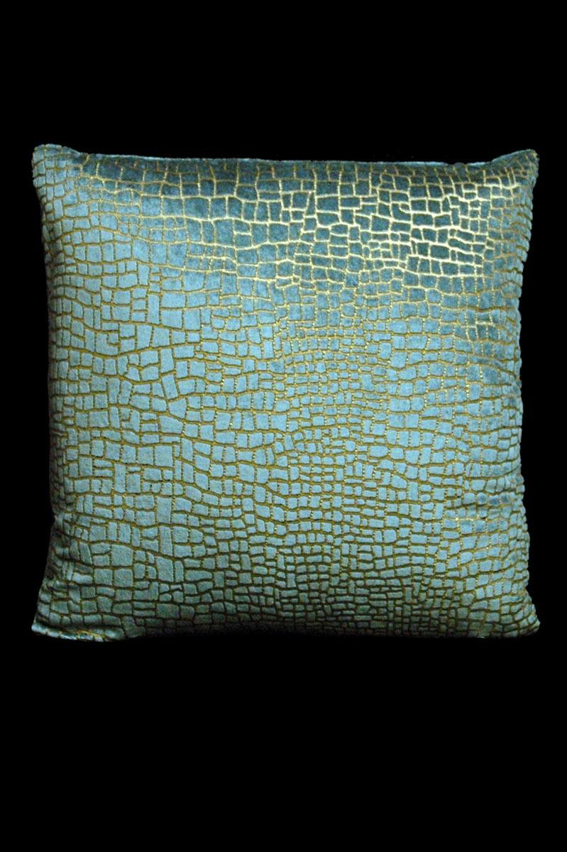 Coussin Venetia Studium carré en velours bleu sarcelle imprimé Mosaico