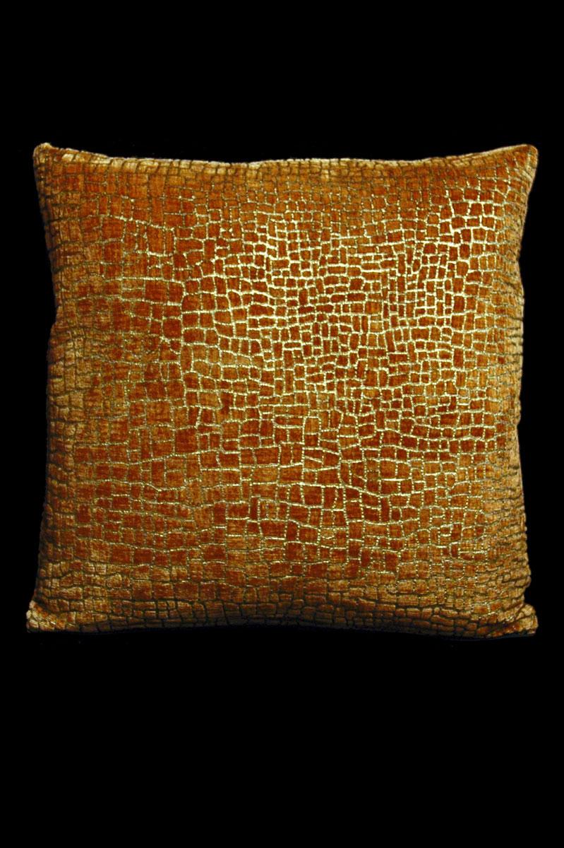 Coussin Venetia Studium carré en velours caramel imprimé Mosaico