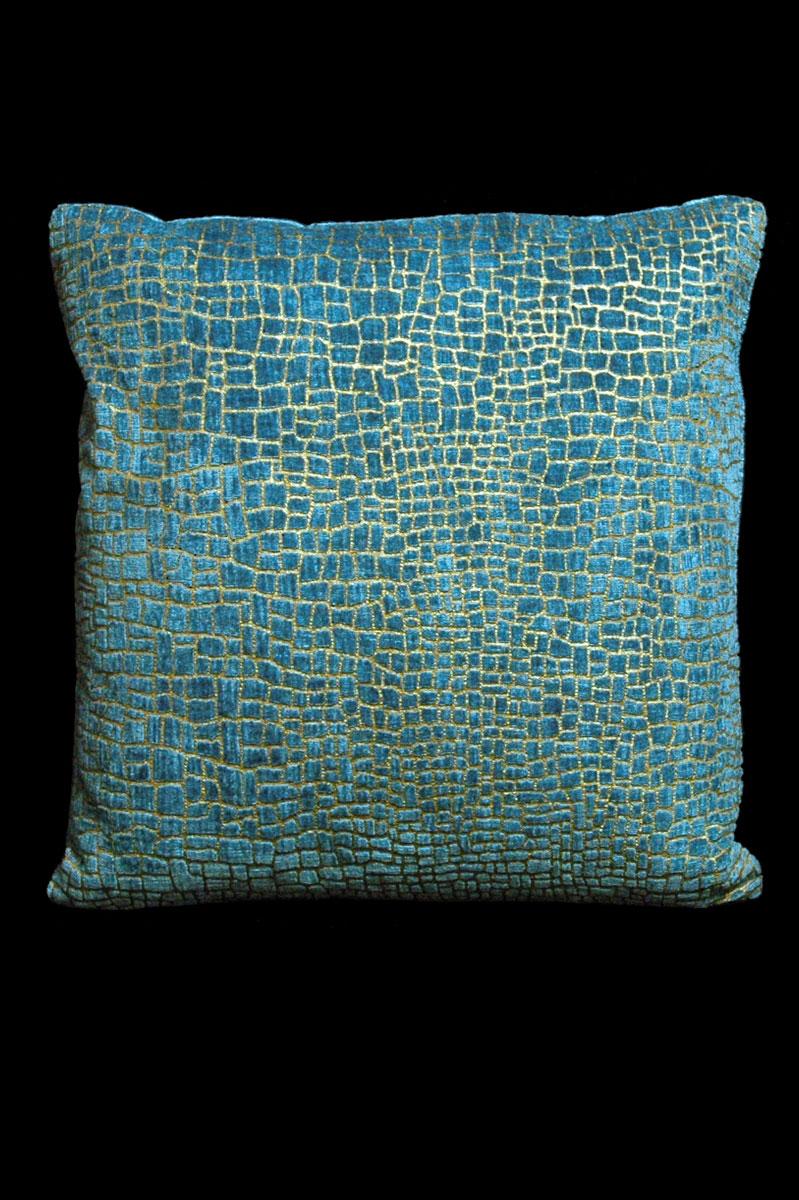 Coussin Venetia Studium carré en velours bleu-vert imprimé Mosaico