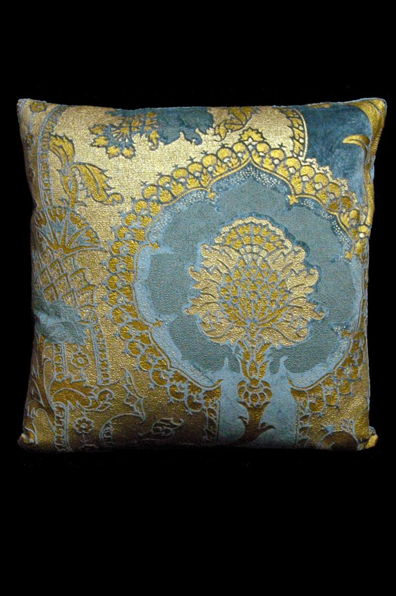 Coussin Venetia Studium carré en velours bleu sarcelle imprimé San Gregorio