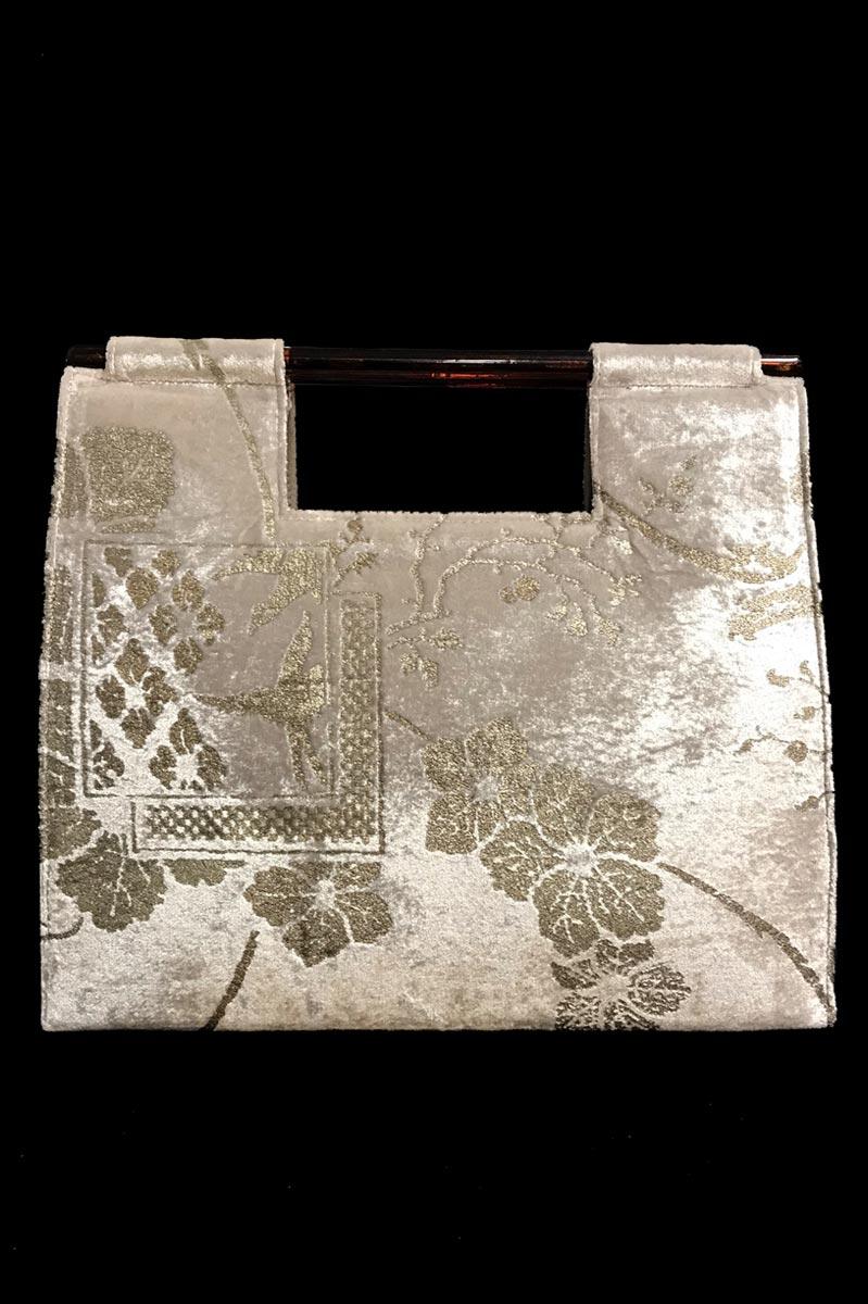 Sac à main Fortuny Aiko en velours gris colombe imprimé