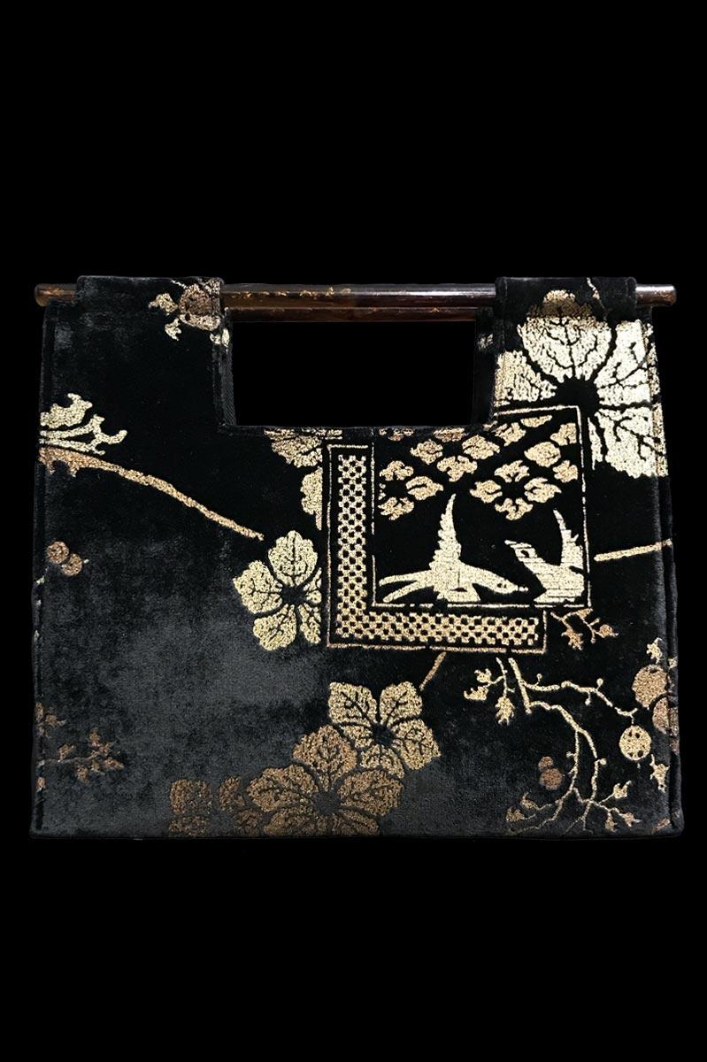 Sac à main Fortuny Aiko en velours noir imprimé