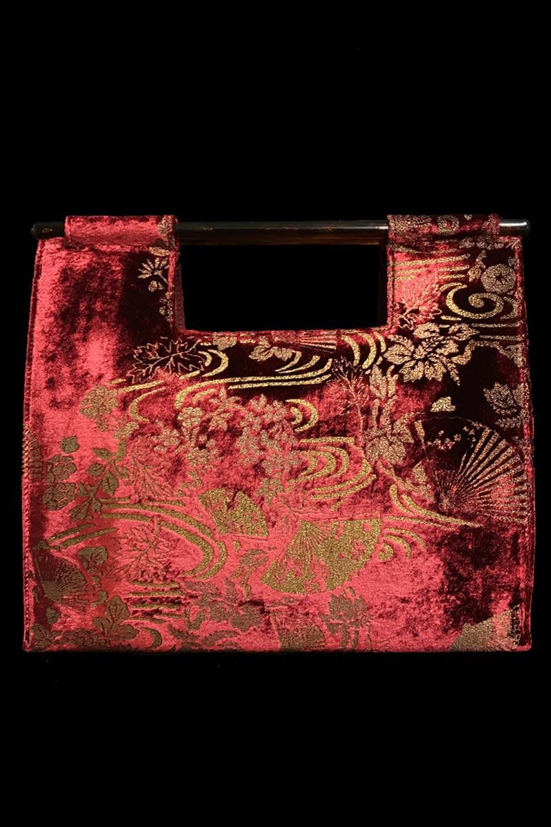 Sac à main Fortuny Aiko en velours rouge rubin imprimé