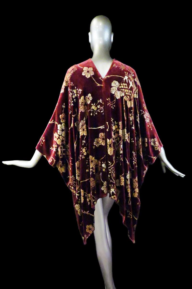 Manteau du soir court Fortuny en velours imprimé arrière