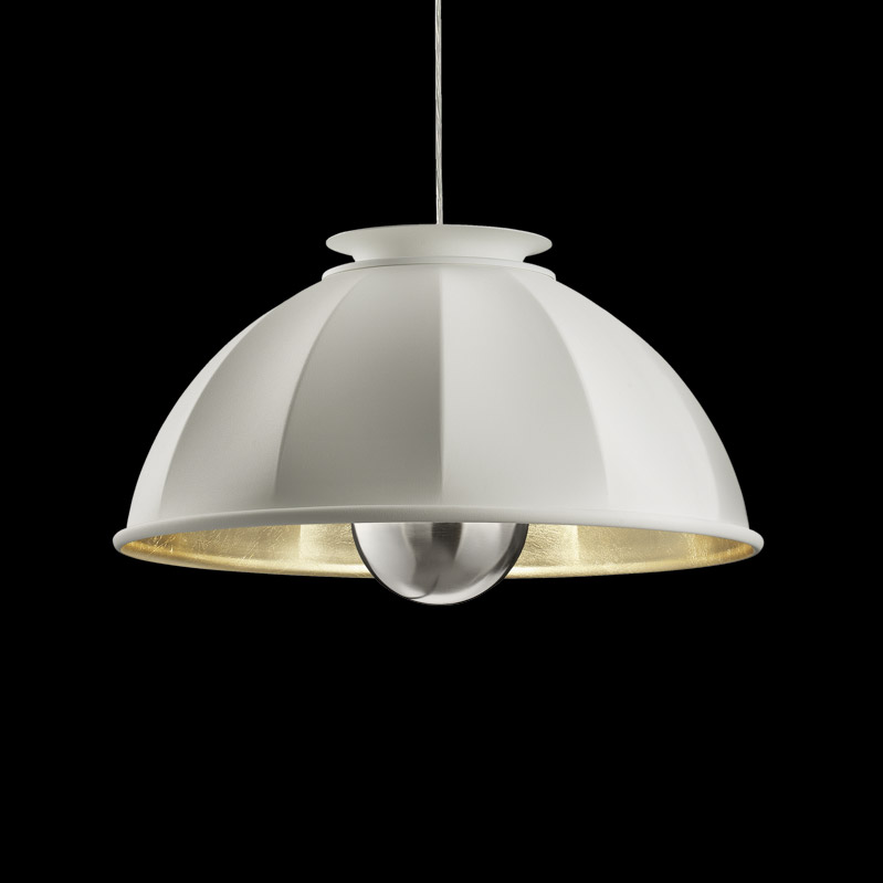 Suspension Fortuny Cupola 63 blanche et feuille d'or