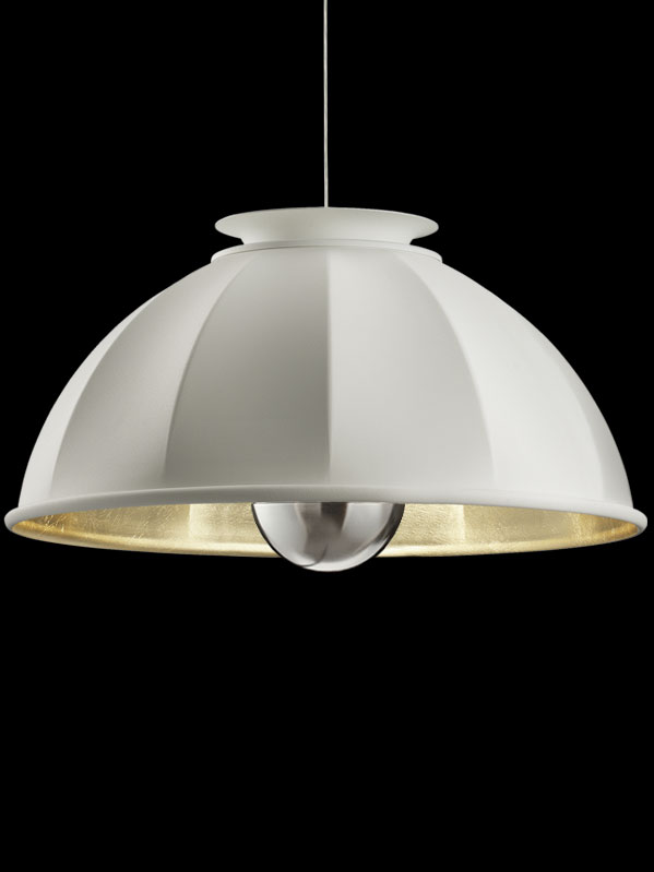 Suspension Fortuny Cupola 76 blanche et feuille d'or